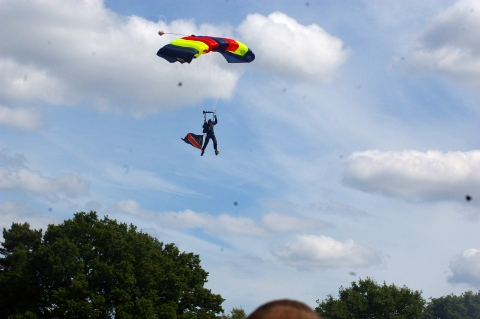 Parachute display team with REME flag