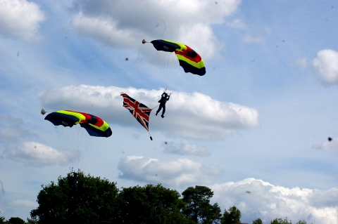Parachute display team with Union flag